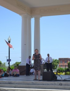 Courtney Cantrell, NC Division of MH/DD/SAS Director,  speaks at the Gaston CTI Community Celebration.  (Photo courtesy of Partners Behavioral Health)